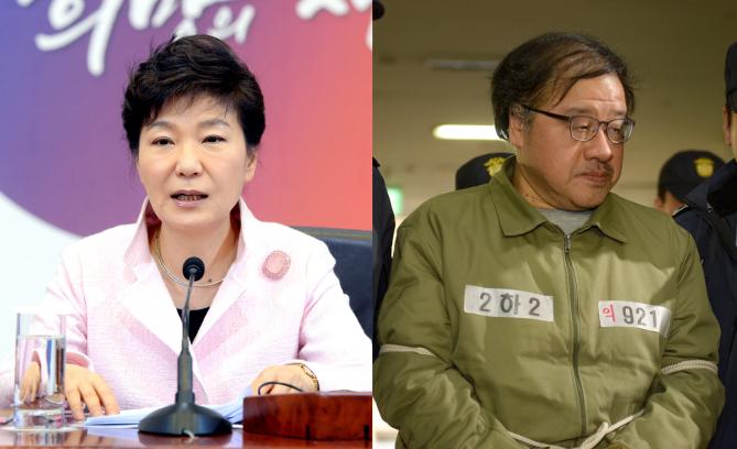 박근혜 대통령(왼쪽)은 안종범 전 청와대 경제수석(오른쪽)에게 자가줄기세포의 안전성이 입증됐으니 규제를 완화하라고 지시했다.  - 동아일보DB 제공